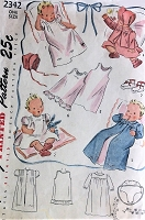1940s CUTE Baby Infant Layette Wardrobe with Embroidery Transfer Pattern SIMPLICITY 4704 Complete Clothing Needs for new Babies Vintage Childrens Sewing Pattern