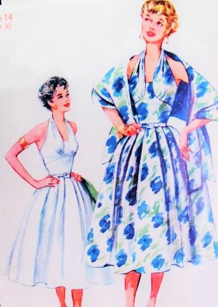 1950s Beautiful MM Style Halter Dress Pattern Simplicity 4711 ...