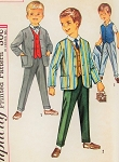 1960s CUTE Little Boys Eaton Style Suit Pattern SIMPLICITY 4836 Jacket, Vest and Trouser Pants Childrens Size 4 Vintage Sewing Pattern