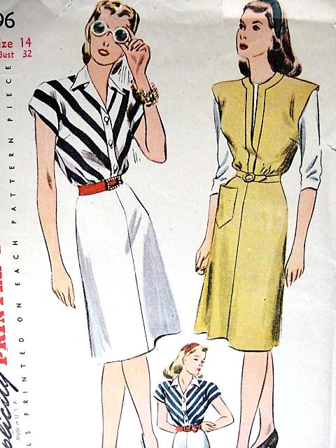 1940s FAB Dress or Jumper Pattern SIMPLICITY 4996 Bust 32 Vintage ...