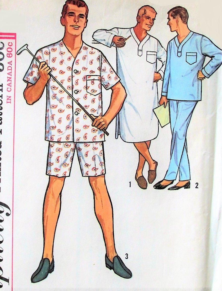 1960s classic mens pajamas in two lengths and nightshirt pattern quick view jeuxipadfo Choice Image