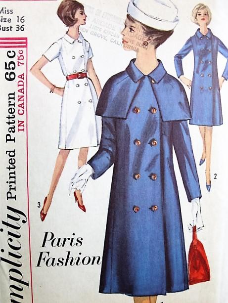 1960s FAB Paris Fashion Coat Dress and Detachable Cape Pattern ...