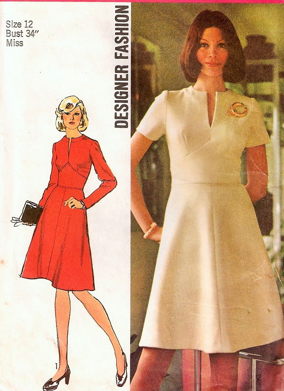 1970s Designer Midriff Dress Pattern SIMPLICITY 5789 Slit Neckline ...