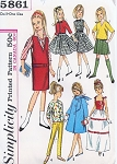 ORIGINAL 60s Vintage SKIPPER Patterns Simplicity 5861 Skipper Doll Clothes Pattern Barbie Lil Sister Clothes Pattern Size 9 Inch Doll Vintage Sewing Pattern FACTORY FOLDED