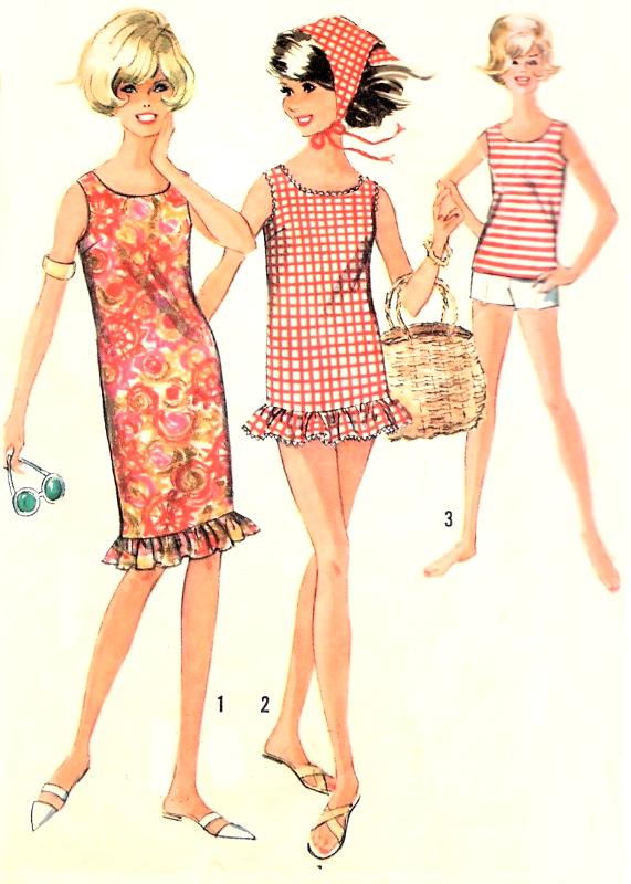 1960s CUTE Beachwear Pattern SIMPLICITY 5974 Shift Dress or Beach ...