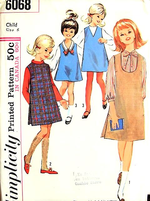 1960s Little Girls CUTE Jumper Dress Pattern SIMPLICITY 6068 Sweet ...