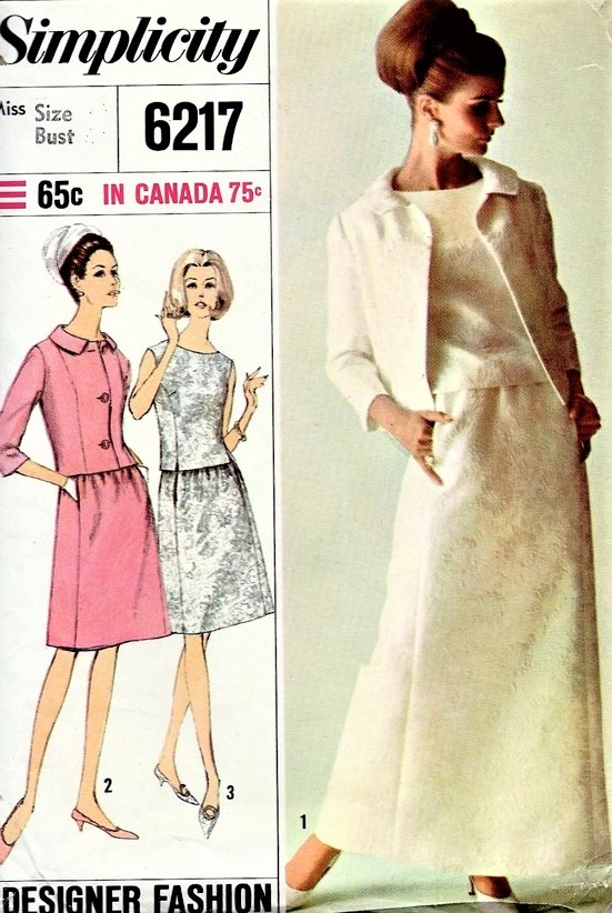1960s MOD Cocktail Evening Party 2 Pc Dress and Jacket Pattern ...