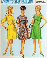 1960s HOW TO SEW Pattern SIMPLICITY 6937 A Line With Princess Lines Dress,Two Pretty Versions Bust 37 Vintage Sewing Pattern
