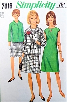 1960s MOD Dress and Jacket Pattern SIMPLICITY 7016 Daytime or After 5,Bust 36 Vintage Sewing Pattern FACTORY FOLDED