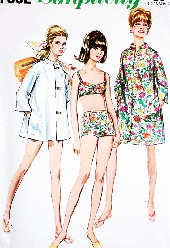 1960s CUTE Coat Dress or Beach Coat and Two-Piece Bathing Suit ...