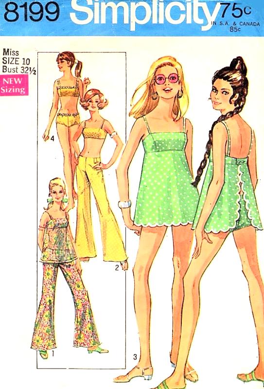 1960s Cute Beachwear Pattern Simplicity 8199 Gidget Style