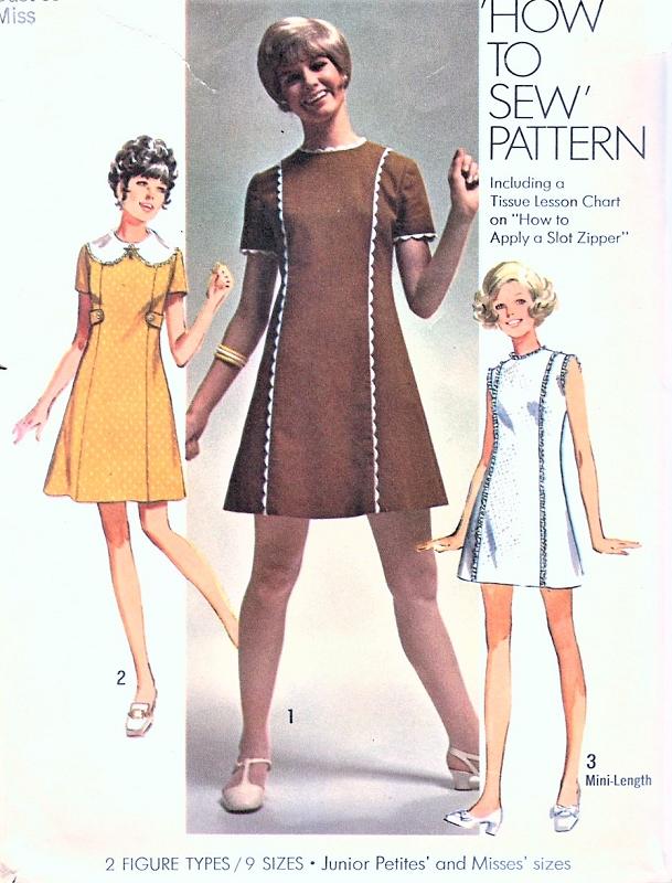 1960s Mod How To Sew Mini Princess Seam Dress Pattern Simplicity