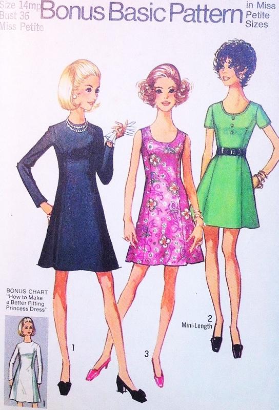 Cute 70s A Line Flared Princess Seam Dress Pattern