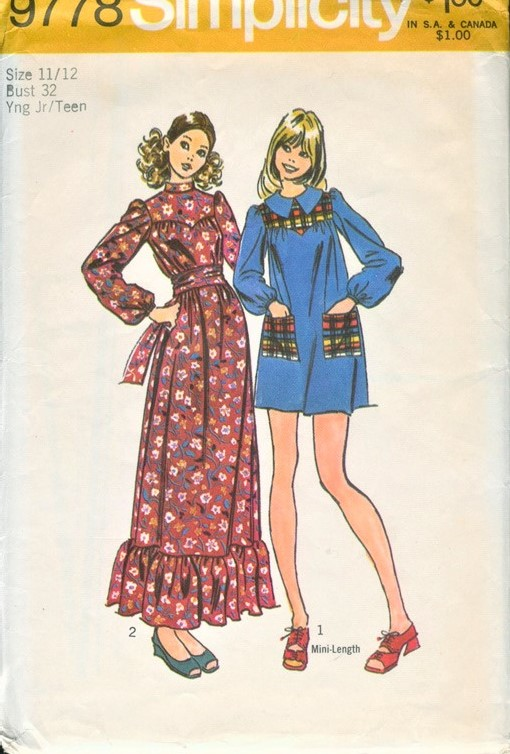 1970s CUTE Lolita Style Maxi or Mini Dress Pattern SIMPLICITY 9778 ...