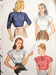 1940s PRETTY Blouse Pattern SIMPLICITY 1542 Four Lovely Forties Raglan Sleeve Blouses, Bow Neckline Versions Bust 32 Vintage Sewing Pattern