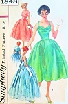 1950s Stunning Evening Gown or Cocktail Dress and Jacket Pattern Liz Taylor Style Figure Flattering Pleated Shaped Shelf Bust Low Back Full Dreamy Skirt Simplicity 1848 Vintage Sewing Pattern Bust 33