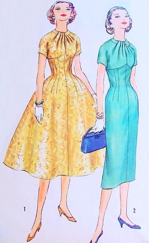 1950s Lovely Slim Or Full Skirt Dress Pattern Simplicity