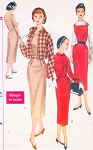 1950s Slim Dress or Jumper and Shortie Jacket Pattern Simplicity 2236 Square Neckline Wiggle Sheath Bust 34 Simple To Make Vintage Sewing Pattern FACTORY FOLDED