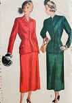 1940s SLEEK Tailored Suit Pattern SIMPLICITY 2376 Figure Flattering Fitted Jacket,Panelled Skirt Bust 34 Vintage Sewing Pattern FACTORY FOLDED