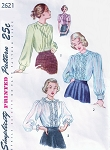 1940s PRETTY Blouse Pattern SIMPLICITY 2621 Three Lovely Blouses,Pintuck Detail and Peter Pan Collar Perfect For Sheer Fabric Bust 34 Vintage Sewing Pattern