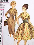 1950s ROCKABILLY Slim or Full Skirt Dress Pattern SIMPLICITY 3068 Flattering Wide Surplice Collar Bust 38 Vintage Sewing Pattern
