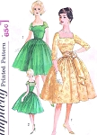 1960s Mad Men Era Party Cocktail Dress Pattern Simplicity 3663 Square Neckline Full Dancing Skirt Perfect For Sheer Fabrics Includes Cummberbund Sash Bust 34 Vintage Sewing Pattern