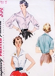 1950s LOVELY Blouse Pattern SIMPLICITY 3941 Judy Holliday Style Wing Collar Blouse 3 Versions Includes Cummerbund Bust 32 Vintage Sewing Pattern