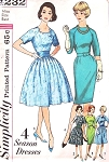 1960s Slim or Full Skirt Dress Pattern Simplicity 4232 Four Season Dresses Lovely Jewel Notched Neckline Plus Detachable Collar Includes Cummerbund Bust 32 or 34 Vintage Sewing Pattern