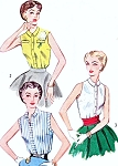 1950s Blouse Pattern Simplicity 4238 Rockabilly Sleeveless Front Button Blouse s 3 Style Versions Simple To Make Vintage Sewing Pattern Bust 30