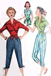 1950s FAB Wrap Around Blouse and Capri Pants Pattern SIMPLICITY 4255 Striking Wing Collar Side or Centre Tied Wrap Blouse Bust 34 Vintage Sewing Pattern