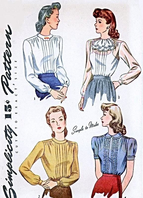 1940s Lovely Day or Evening Blouse Pattern Front PinTuck Lovely ...