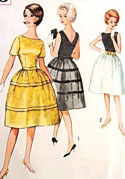 1960s Cocktail Party Dress Pattern Simplicity 4595 Vintage