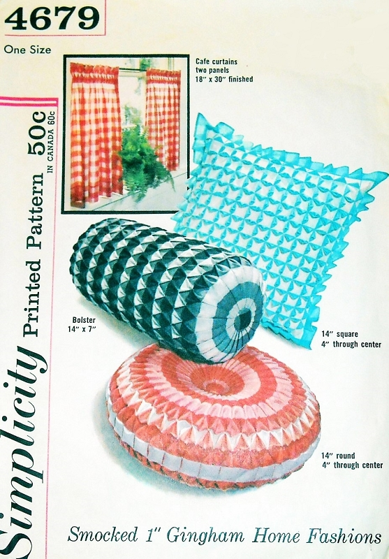 1960s Smocked 1 Inch Gingham Pillows Cushions Cafe Curtain Pattern ...