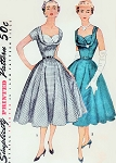 1950s BEAUTIFUL Cocktail Party Evening Dress Pattern SIMPLICITY 4704 Rockabilly Shelf Bust Fitted Bodice Full Flare Skirt Gorgeous Style Bust 30 Vintage Sewing Pattern
