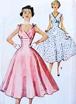 1950s BEAUTIFUL Cocktail Evening Prom Dress Pattern SIMPLICITY 4706 Rockabilly Empire Waist Surplice V Fit and Flare Glamour Vintage Sewing Pattern