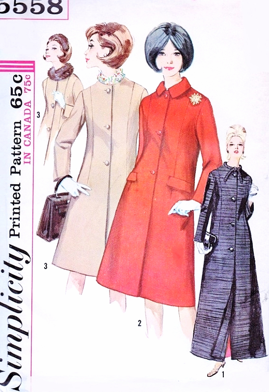 030afe4d6 Early 1960s ELEGANT Princess Seam Coat In Two Lengths Simplicity 5558 Day  or Evening Coats Bust 34 Vintage Sewing Pattern FACTORY FOLDED