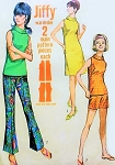 1960s  FAB A Line Dress, Blouse Top, Shorts and Bell Bottom Flared Pants Pattern Simplicity 7021 Bust 31 Vintage Sewing Pattern FACTORY FOLDED