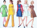 60s MOD Simplicity 8381 Mini Dress or Regular Length,Tunic Top and Pants Bust 34 Vintage Sewing Pattern