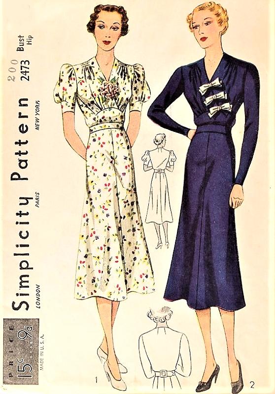1930s BEAUTIFUL Dress Pattern SIMPLICITY 2473 Flattering ...