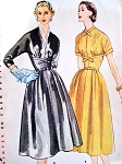 1950s Beautiful Dress Pattern Simplicity 4428 Lovely Midriff Dress Day or After 5 Bust 34 Vintage Sewing Pattern UNCUT