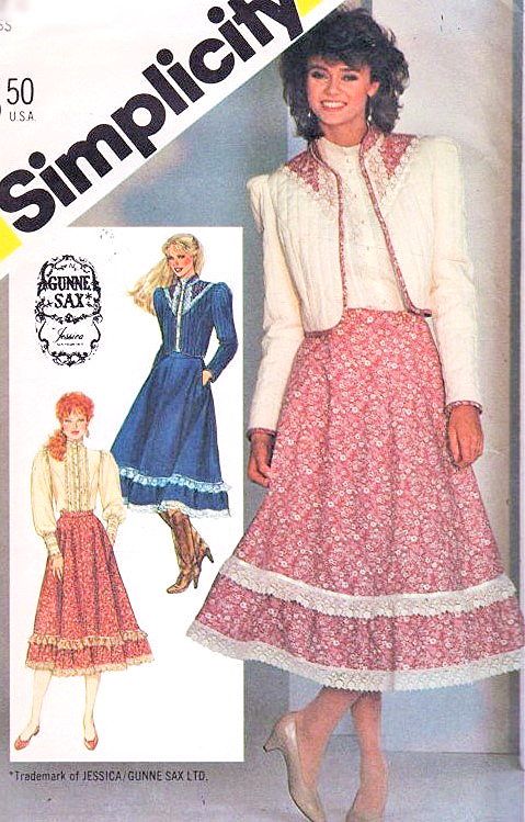 1980s Gunne Sax Romantic Western Prairie Blouse Skirt And Jacket