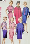 1960s Jackie Kennedy Style Dress Suit Blouse and Coat Pattern Simplicity 5616 Easy Elegance Includes Detachable Collar Bust 34 Vintage Sewing Pattern UNCUT