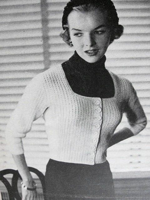 Instant Pdf Pattern 1950s Vintage Knitting Pattern Marilyn