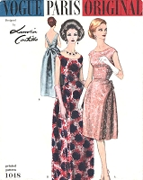60s ELEGANT Lanvin Evening Gown Cocktail Dress Pattern  VOGUE PARIS Original 1048 Eye Catching Very Deep Low V Back Bust 34 Vintage Sewing Pattern