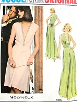 1970s CLASSY Molyneux Evening Dress Pattern VOGUE Paris Original 1066 PLUNGING V Neckline Cocktail Dress Evening Gown Bust 36 Vintage Sewing Pattern