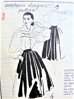 1950s BEAUTIFUL Toni Owen Full Skirt and Lovely Blouse Pattern SPADEA 1067 Figure Flattering Skirt and Gorgeous Full Sleeved Wing Collar Blouse Day or Evening Bust 30 Vintage Sewing Pattern