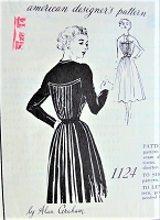 1950s STUNNING Day or Dinner Alan Graham Designer Dress SPADEA American Designer 1124 Eyecatching Pleated Design Feature Bust 32 Vintage Sewing Pattern FACTORY FOLDED