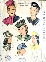 1940s FABULOUS Hats and Scarf Pattern McCALL 1193 Three Styles So Marlene Dietrich Vintage Sewing Pattern