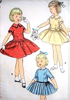 1950s ADORABLE Little Girls Dress Pattern SIMPLICITY 1249 Three Sweet Day or Party Dress Styles Size 6 Vintage Childrens Sewing Pattern