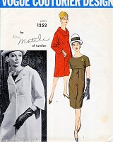 1960s STUNNING Mattli Dress and Coat Pattern VOGUE COUTURIER Design 1252 Empire Slim Dress and Coat Bust 32 Vintage Sewing Pattern